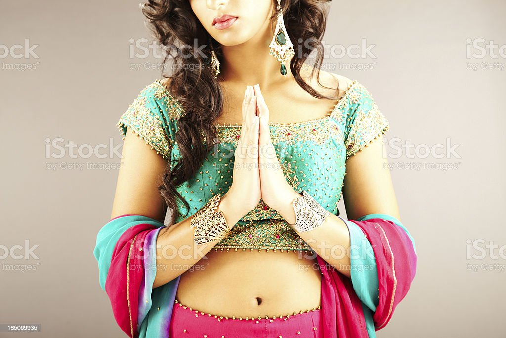 Cropped View of Woman with Hands in Prayer Position royalty-free stock photo