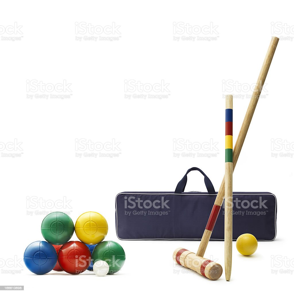 Croquet and Lawn Bowling Set stock photo