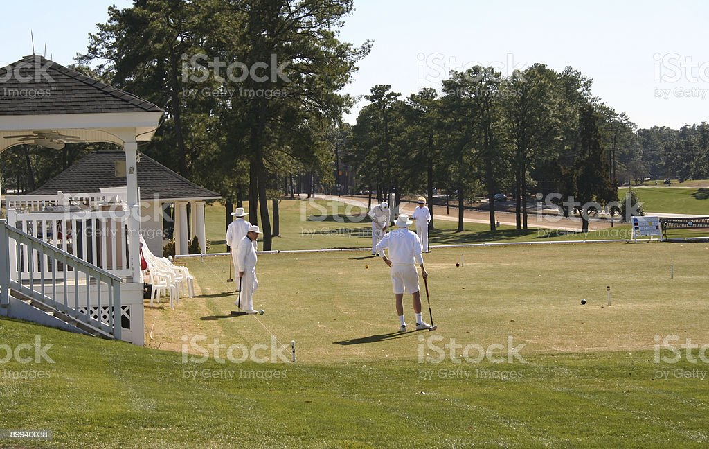Croquet at the club stock photo