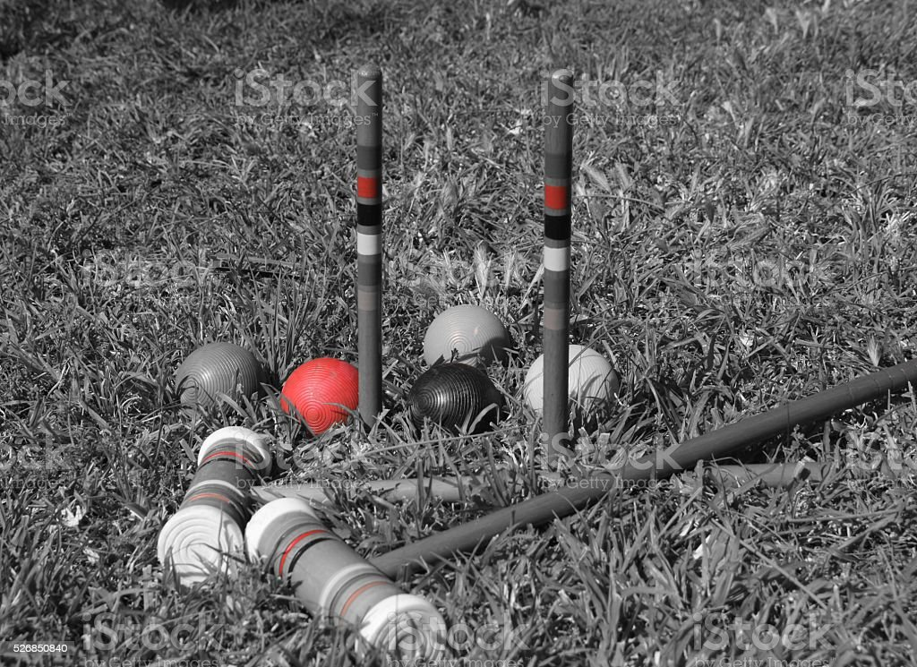 croquet balls and mallets stock photo