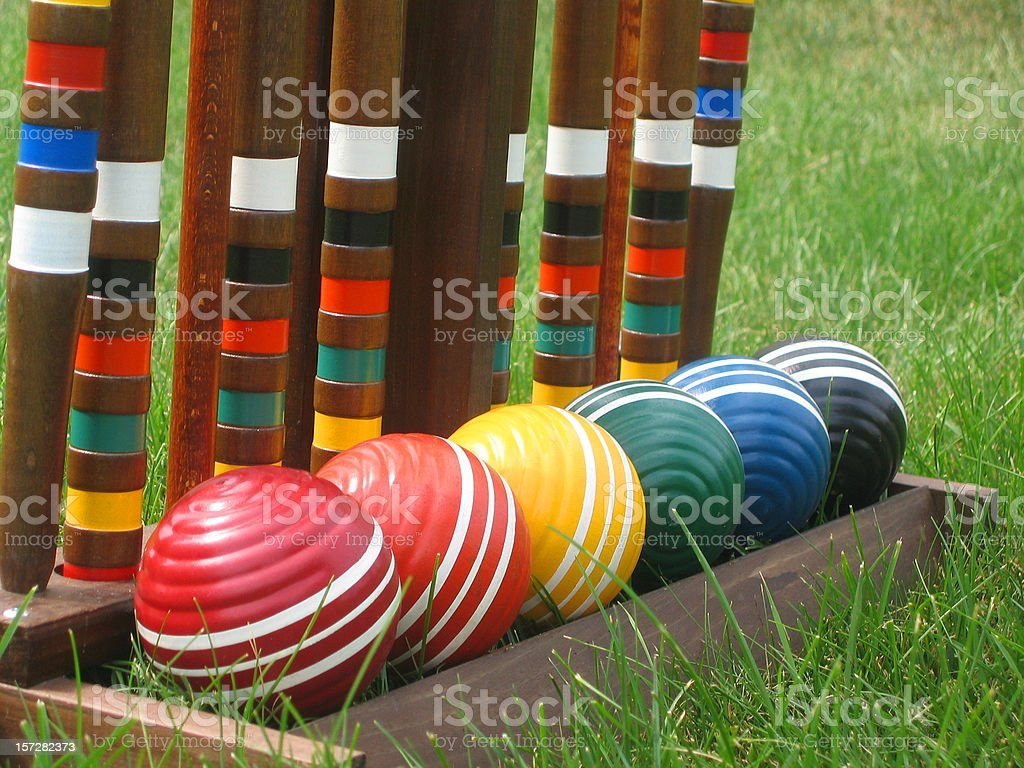 Croquet Balls in a Row stock photo