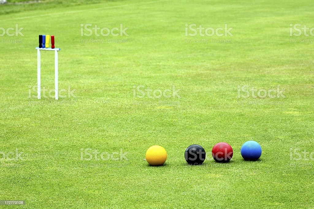 croquet balls stock photo