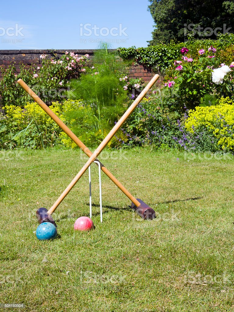 Croquet equipment ready on the garden lawn stock photo