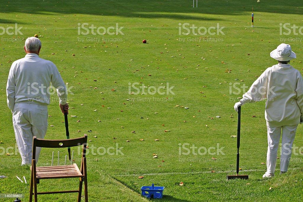 Croquet game stock photo