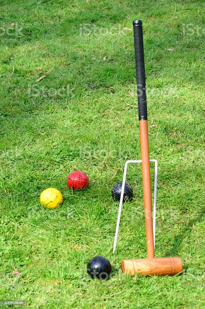 Croquet Mallet with Balls stock photo