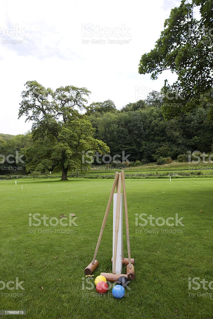 Croquet Mallets and Balls royalty-free stock photo