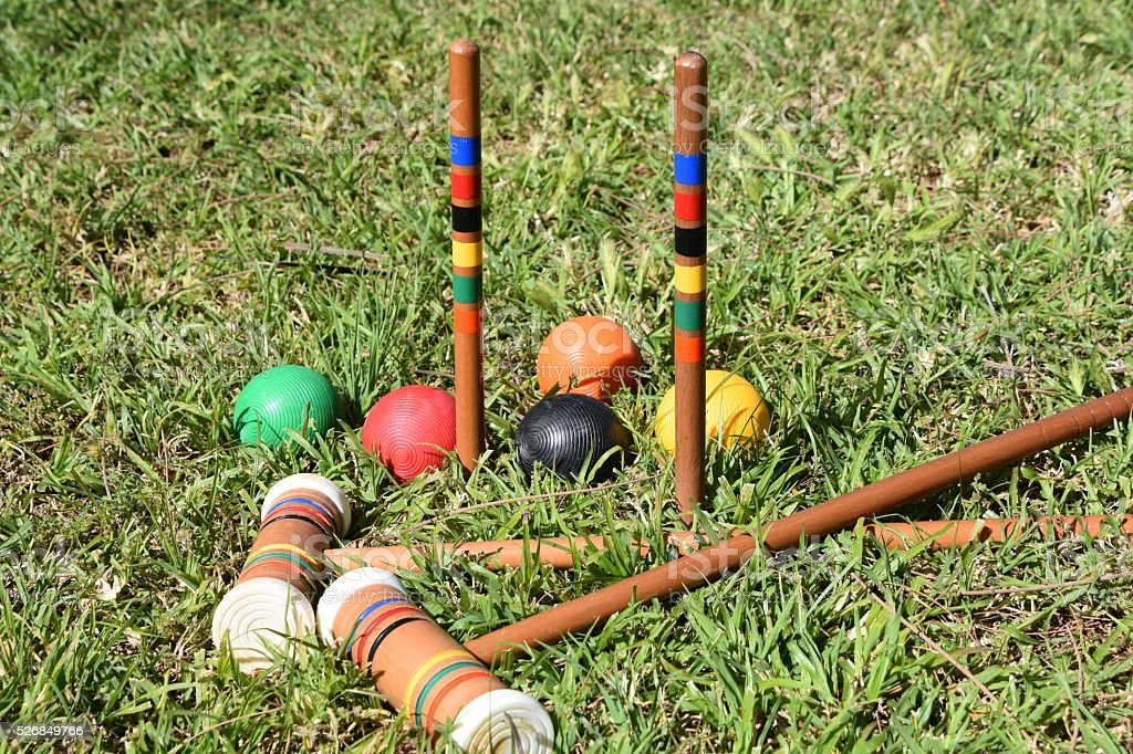Croquet Mallets and Balls stock photo