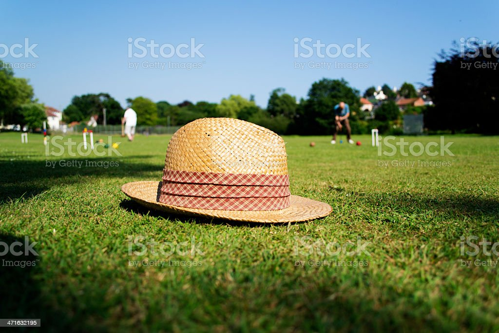 Croquet match stock photo