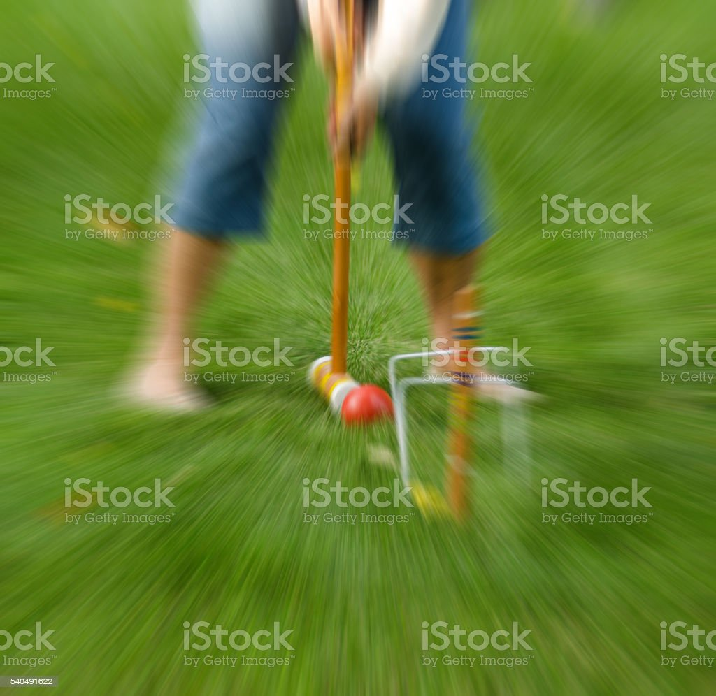 Croquet on summer lawn with zoom efect applied stock photo