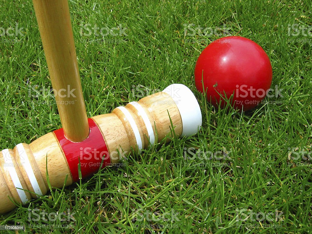 Croquet on the grass stock photo