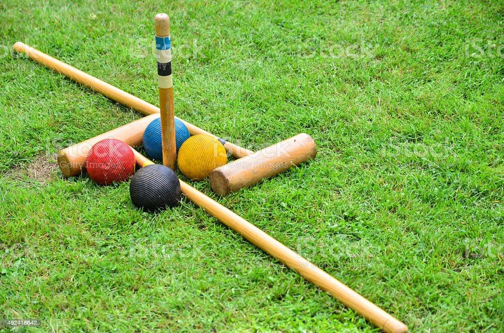 Croquet set on grass stock photo