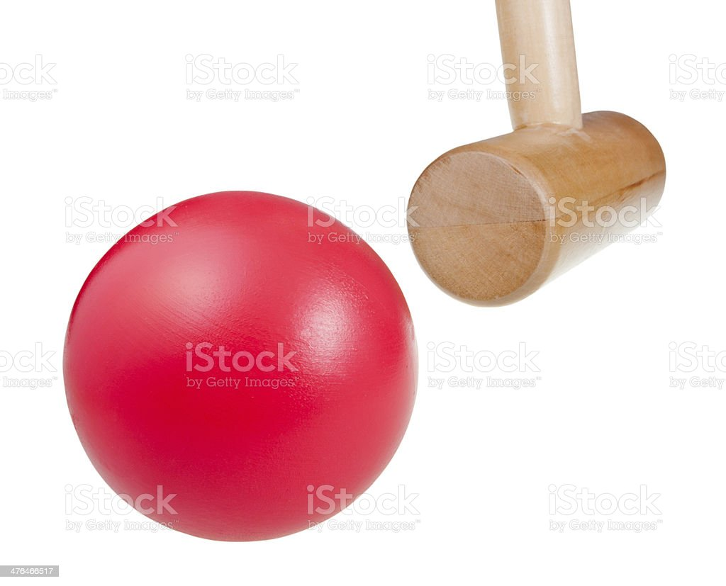 croquet wooden ball and mallet stock photo