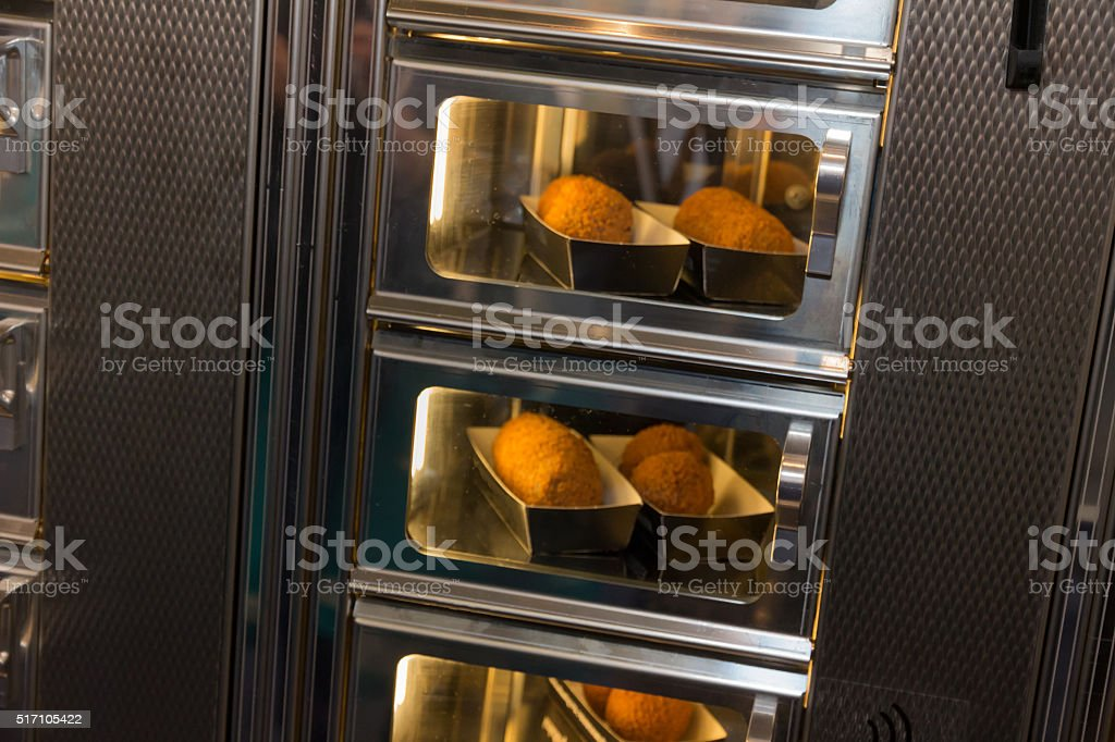Croquets in a snack dispenser stock photo