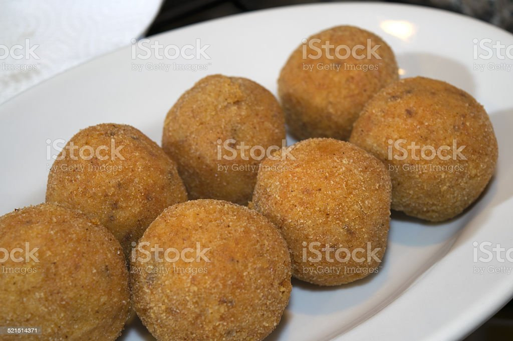 croquettes and arancini stock photo