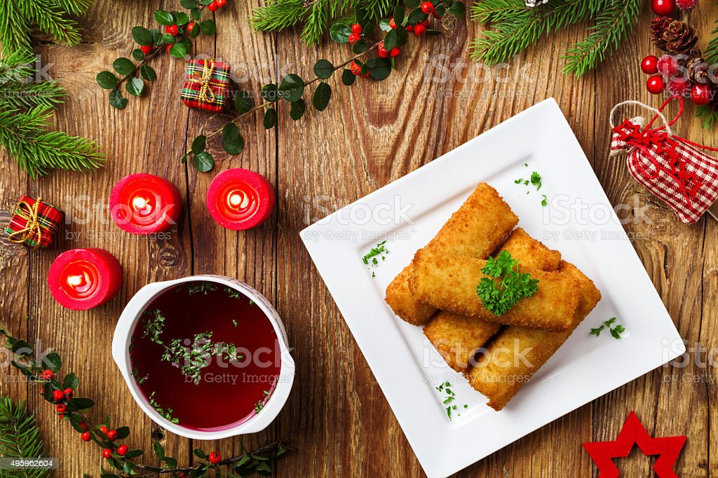 Croquettes with sauerkraut and mushrooms served with beetroot so stock photo