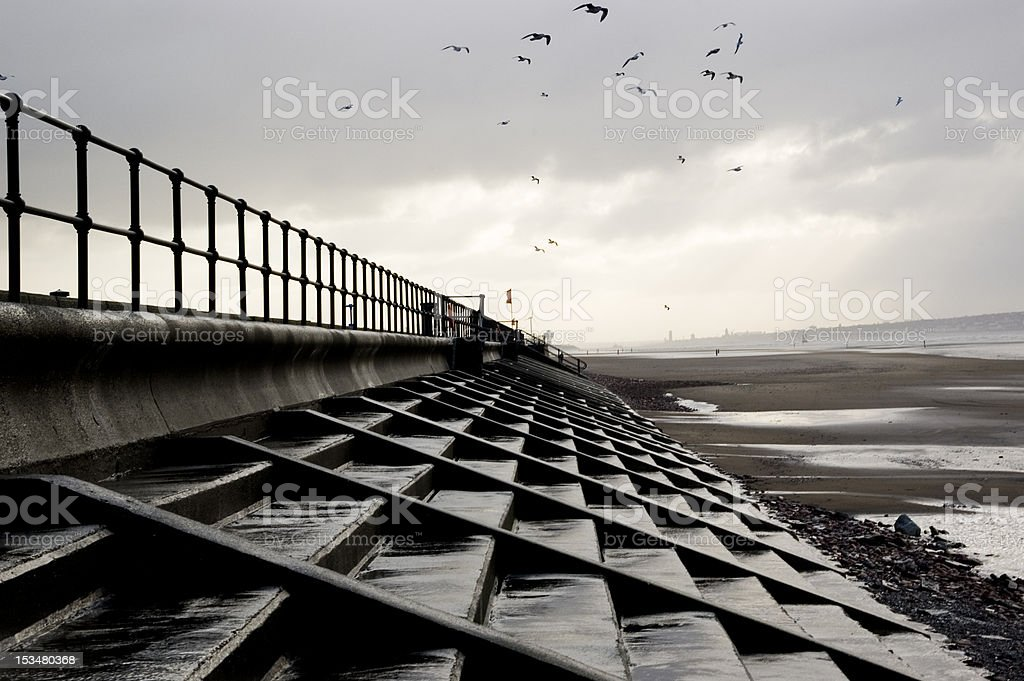 Crosby Beach on a Winter's Day stock photo