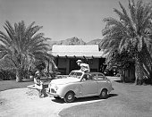 Crosley 1948 convertible car at desert resort