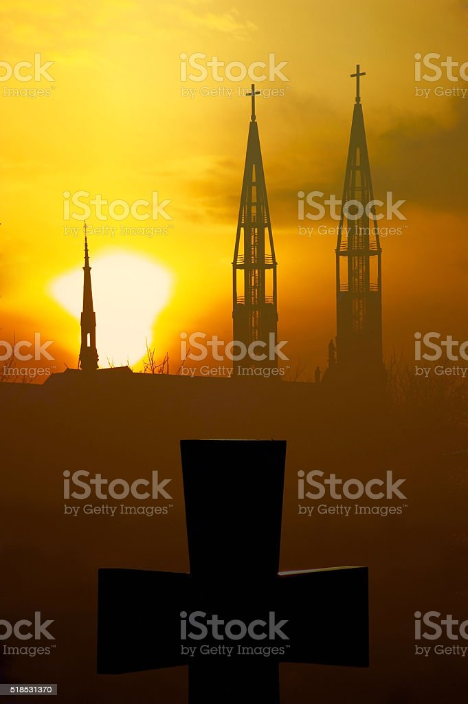 Cross and church stock photo
