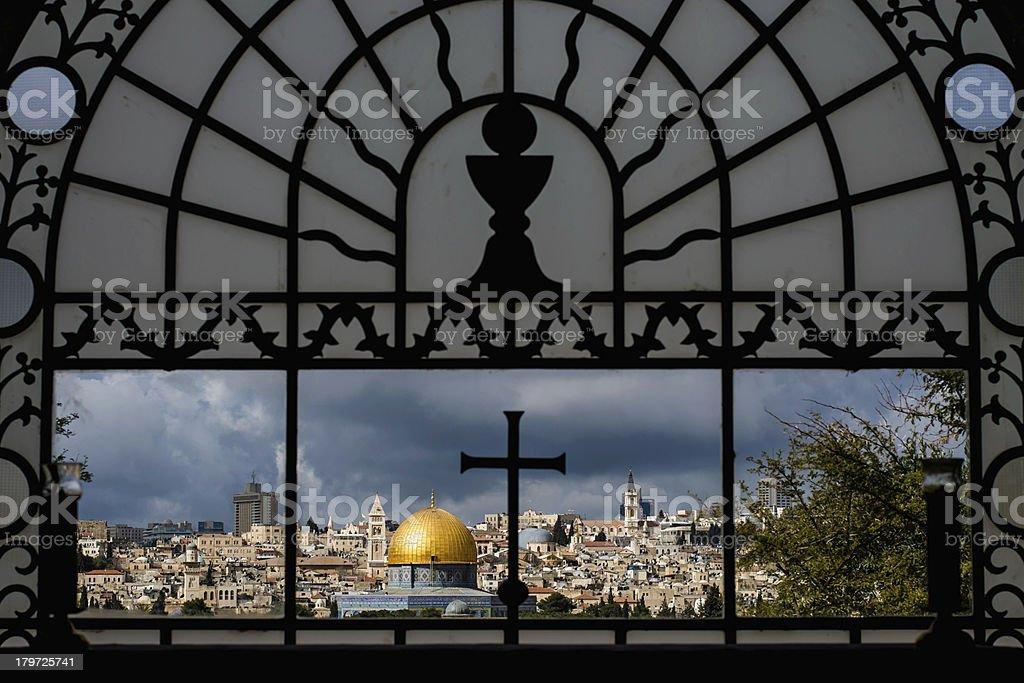 Cross and Crescent - Jerusalem panorama royalty-free stock photo