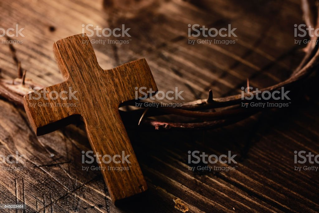 cross and crown of thorns of Jesus Christ stock photo
