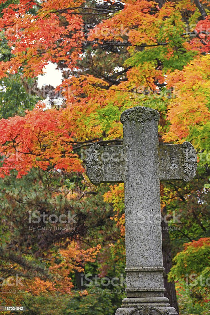 Cross and Fall Colors stock photo