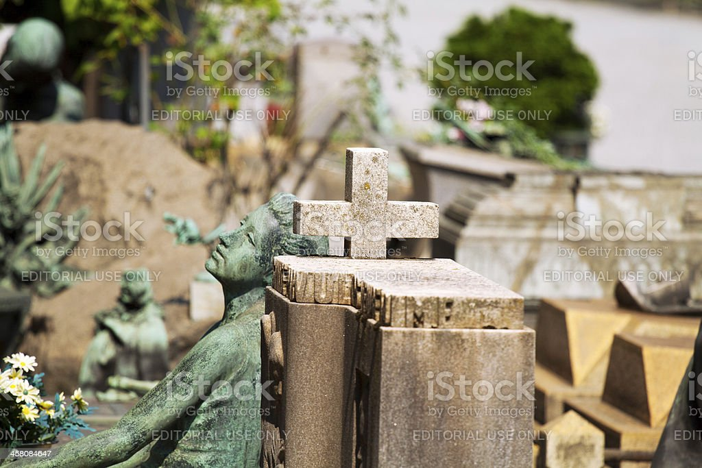 Cross and graves stock photo