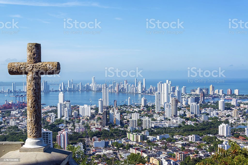 Cross and Modern City stock photo