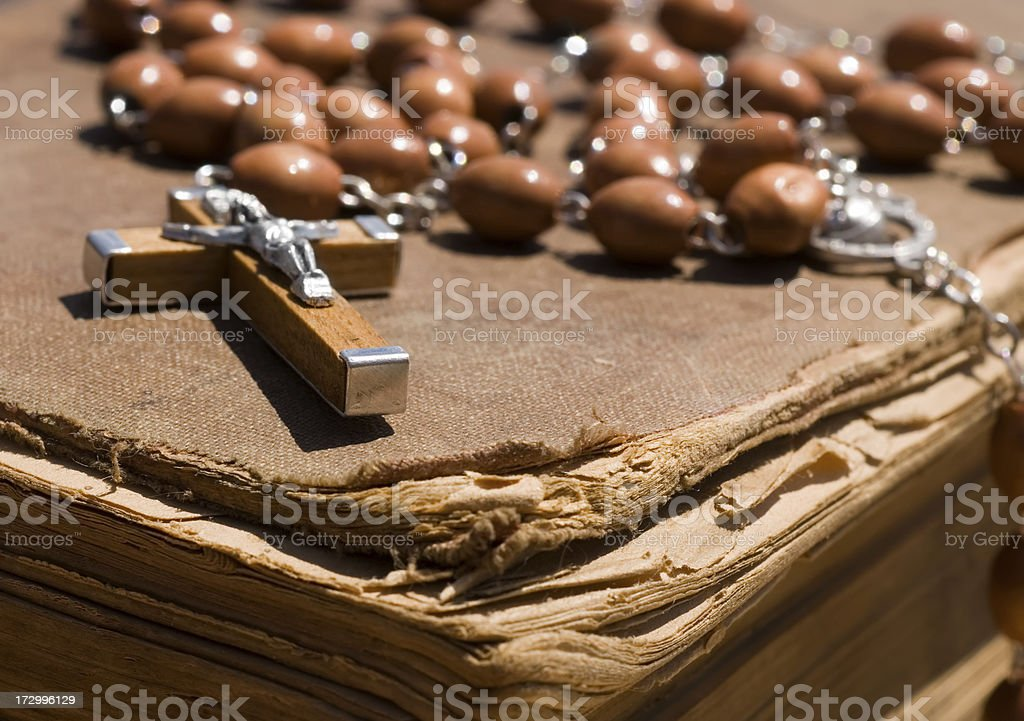 Cross and old Bible royalty-free stock photo