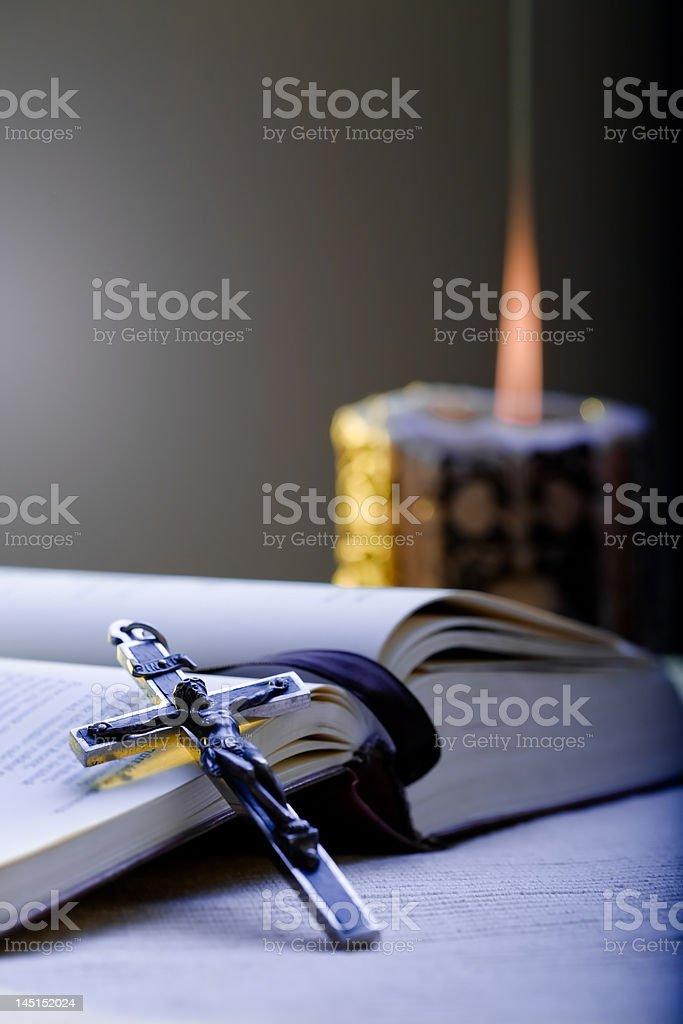 Cross and Prayer-book stock photo