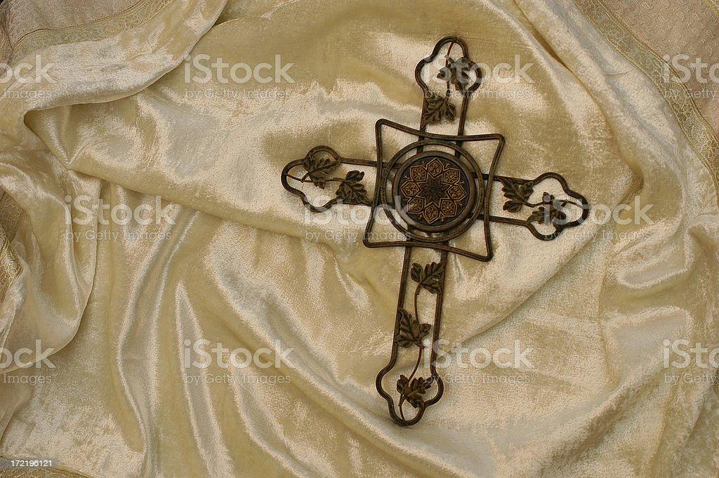 cross and satin stock photo