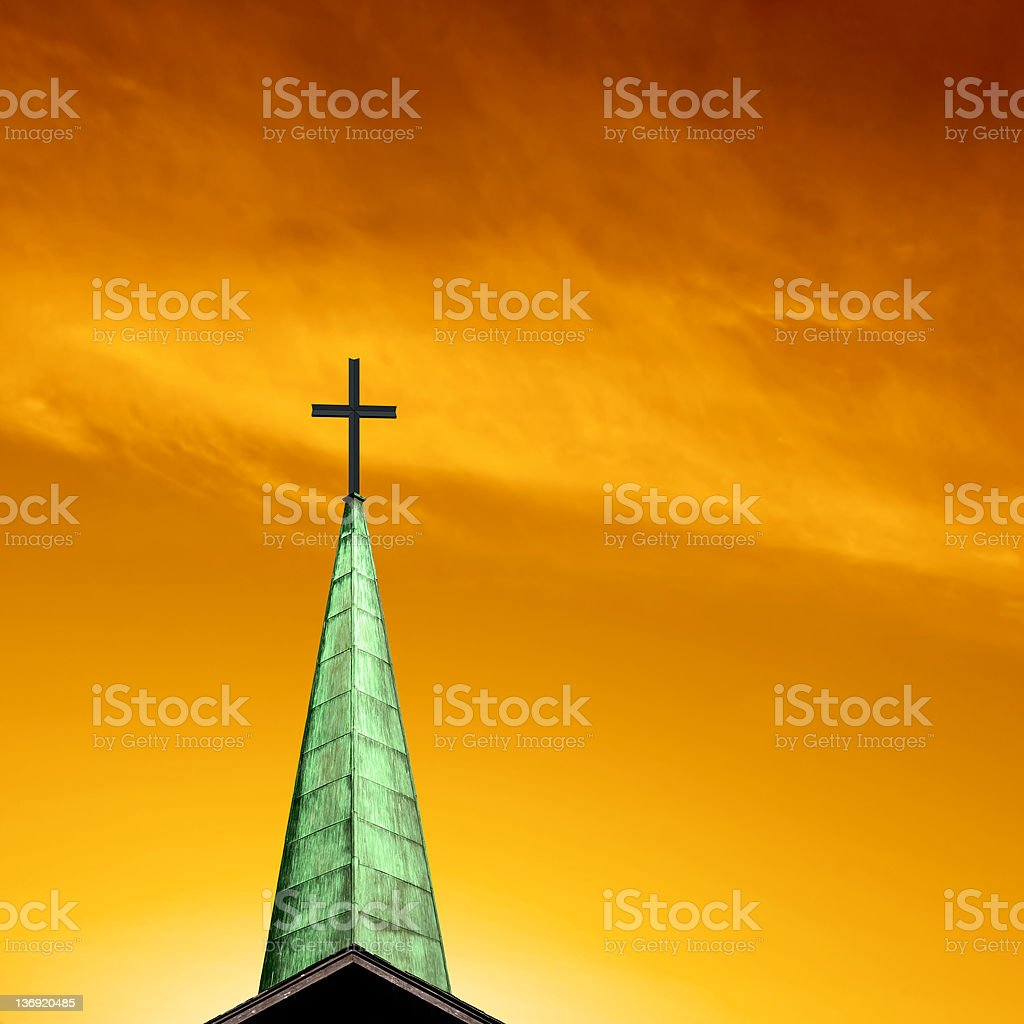 XXL cross and steeple royalty-free stock photo