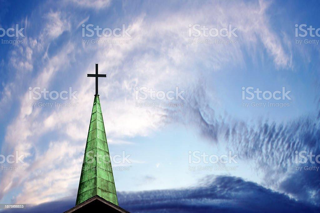 XXXL cross and steeple royalty-free stock photo