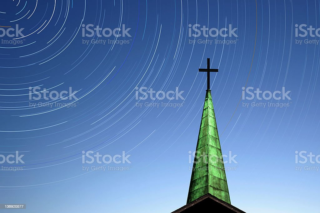 XL cross and steeple with stars royalty-free stock photo