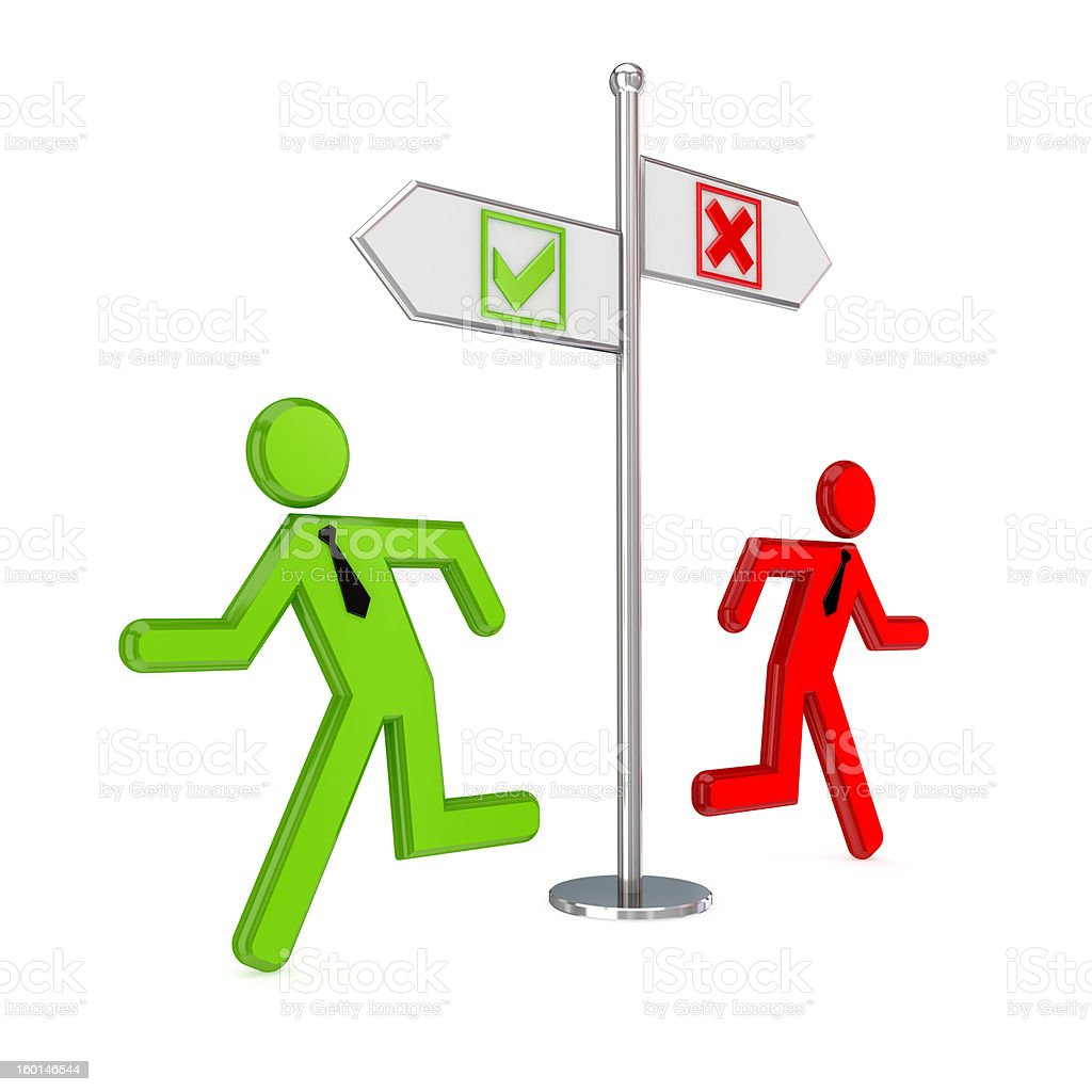 Cross and tick marks, crossroad, 3D small people. royalty-free stock photo