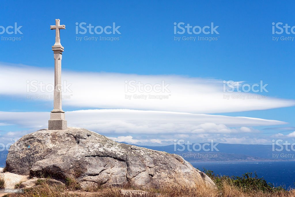 Cross at Cabo de Finisterre, Galicia, Spain stock photo