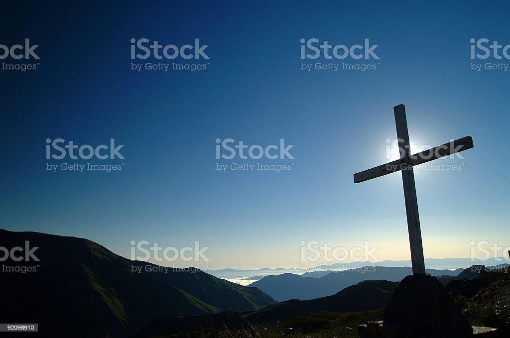 Cross at sunrise royalty-free stock photo