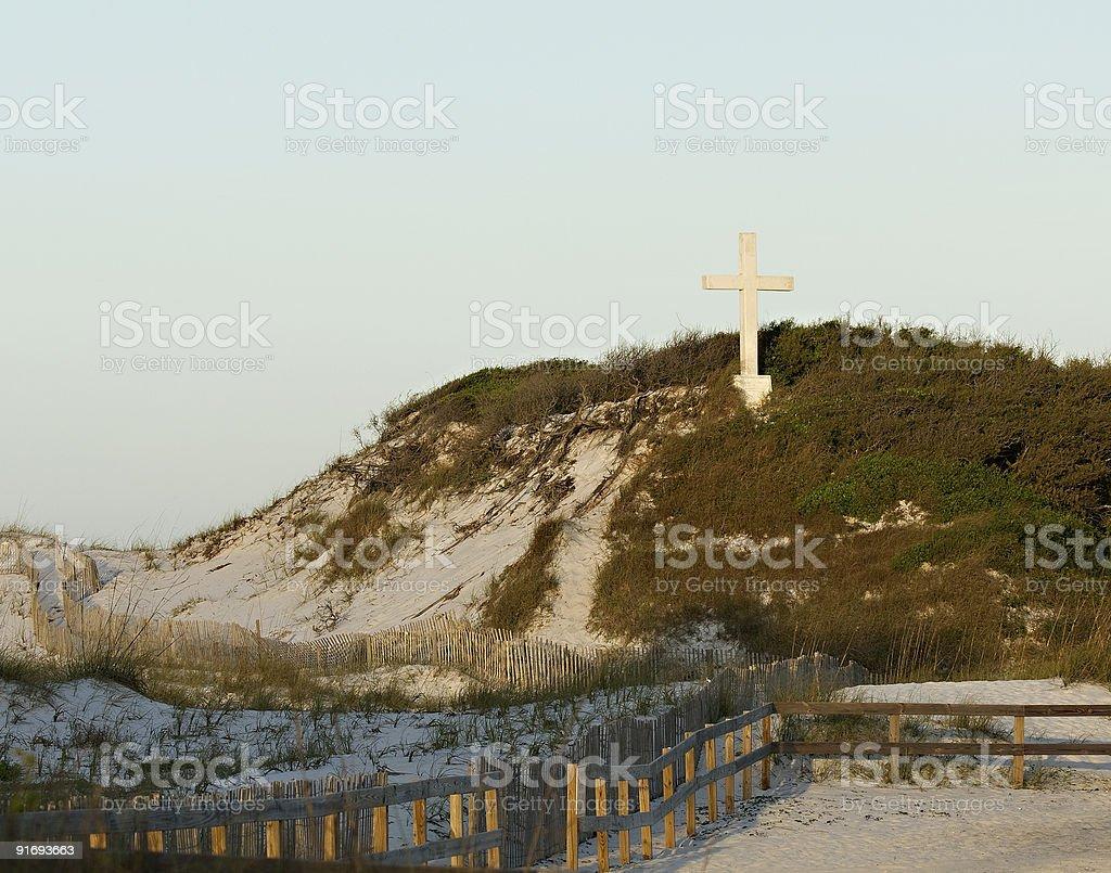 Cross at Sunrise, Santa Rosa Island stock photo