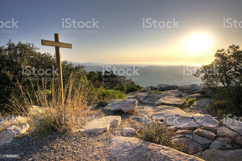 Cross at the mountain top royalty-free stock photo