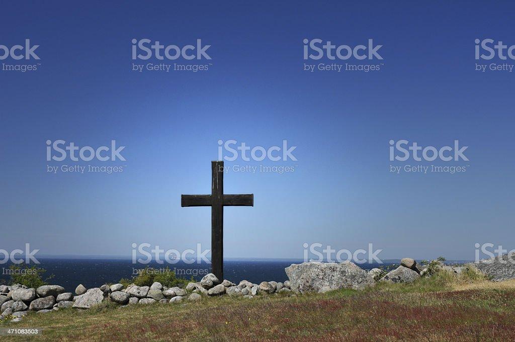 Cross at the Sea stock photo