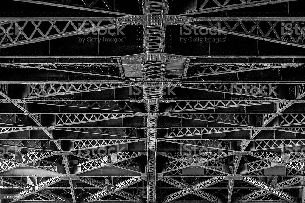 Cross Beams of an old Steel Bridge stock photo