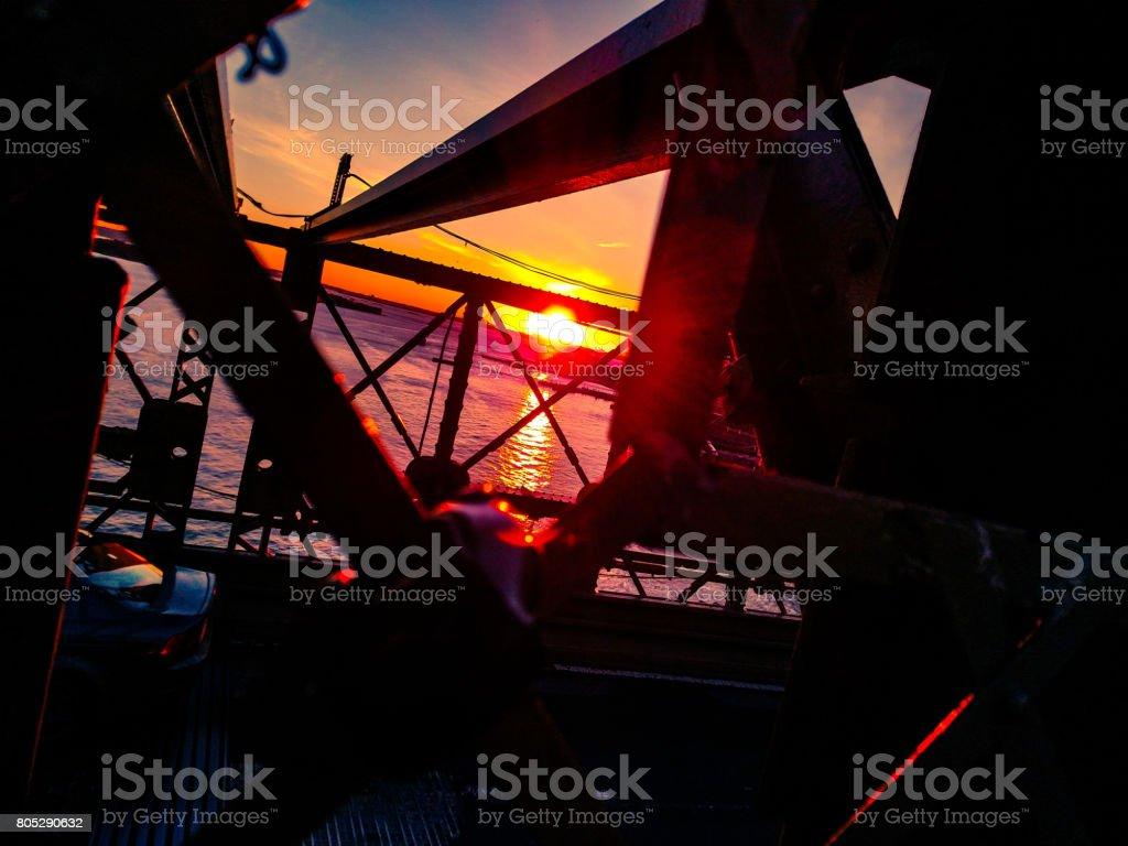 Cross Beams & Sunset stock photo