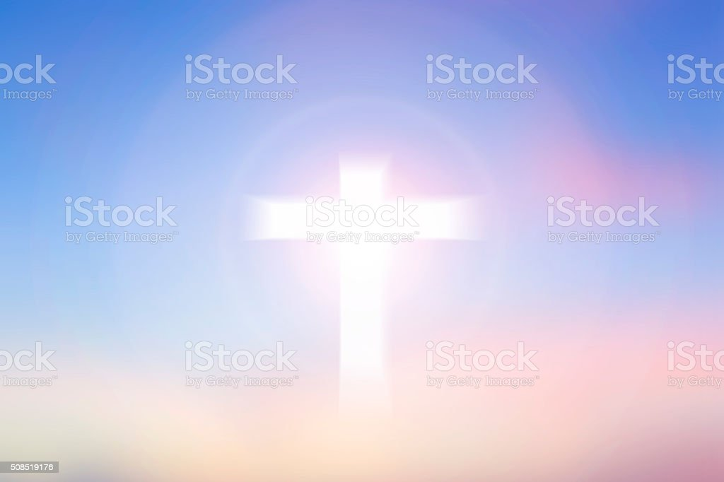 Cross Blurred on Beautiful Background. stock photo