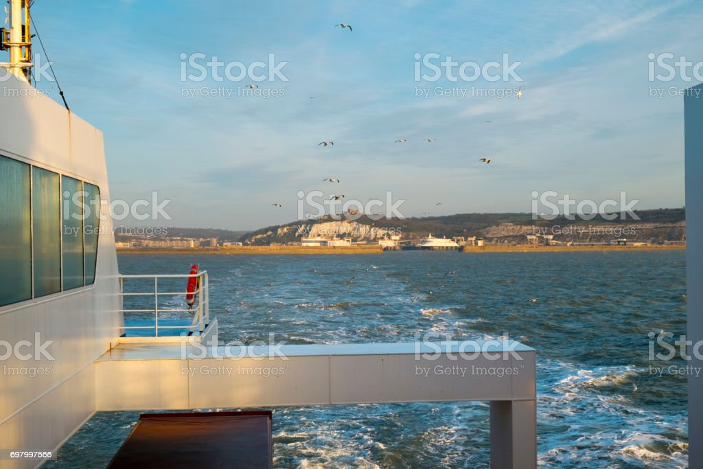 Cross channel ferry departs Dover, UK stock photo