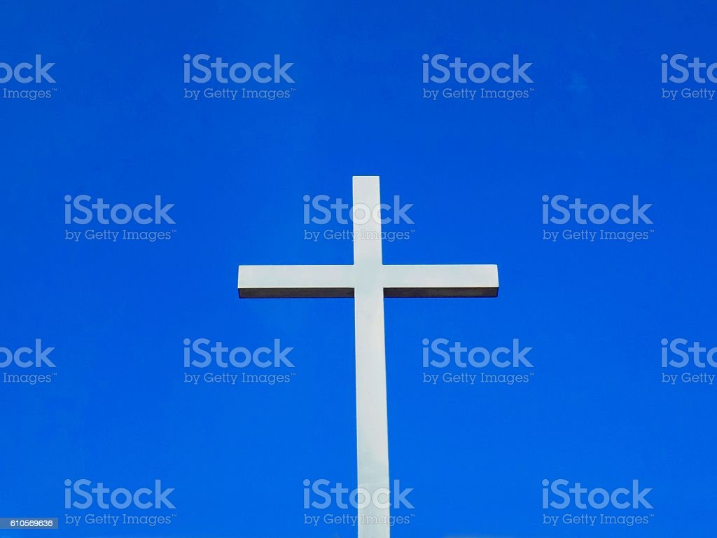 Cross, christianity symbol, religion cross on church and blue sky