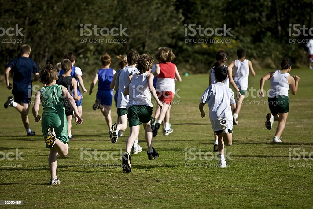 Cross Country Runners Leave the Starting Line stock photo