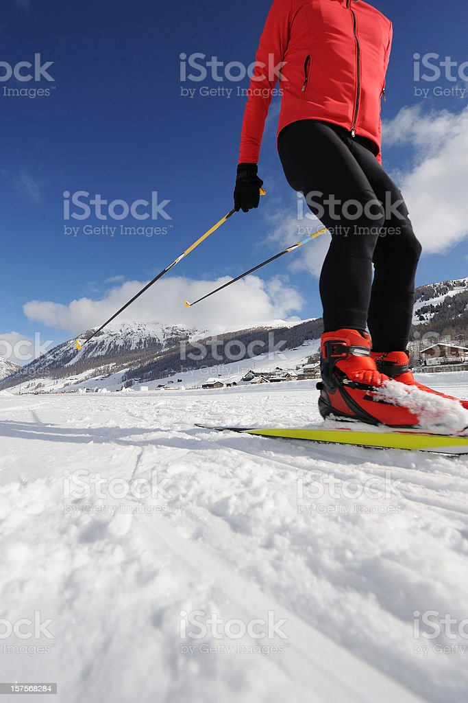 Cross country skier practicing stock photo