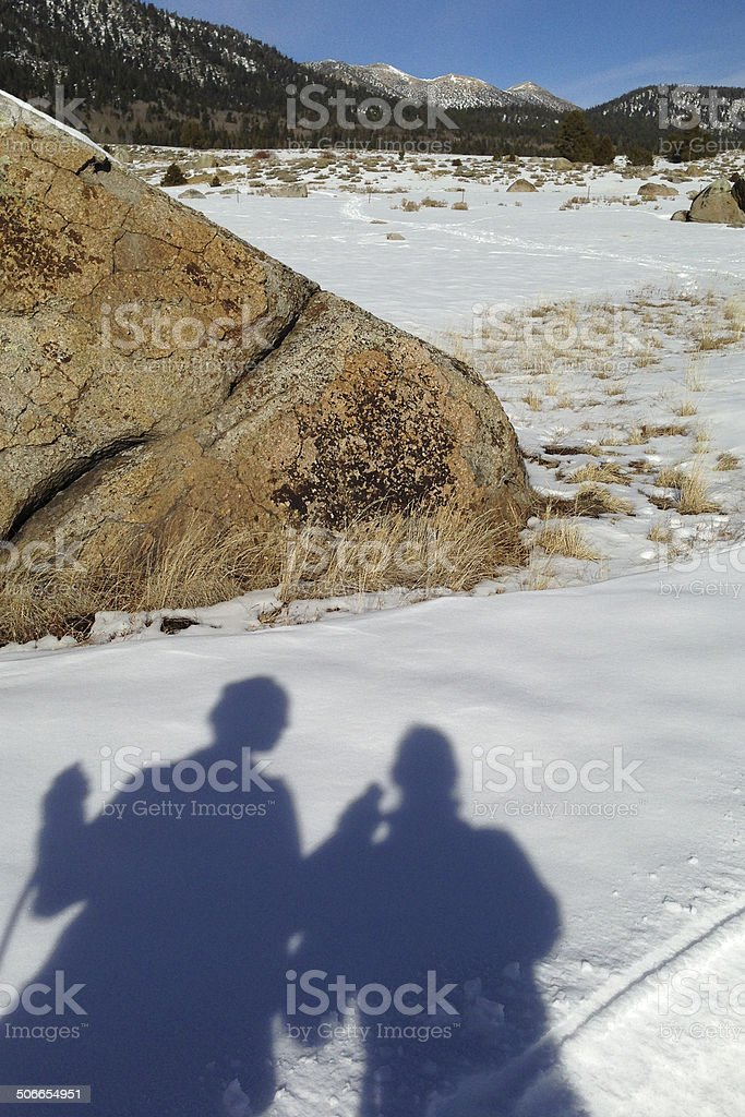 Cross Country Skier Silhouettes royalty-free stock photo