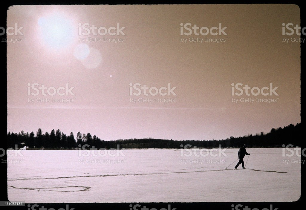 Cross country skier via 'Diana' camera royalty-free stock photo
