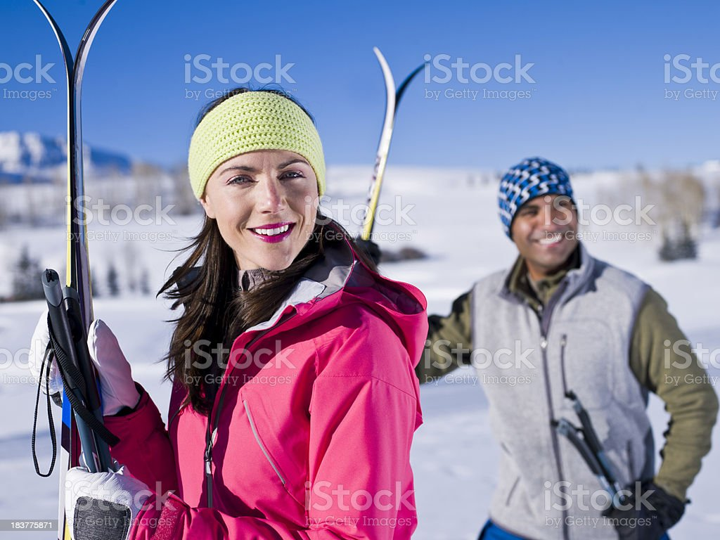 Cross country skiers royalty-free stock photo