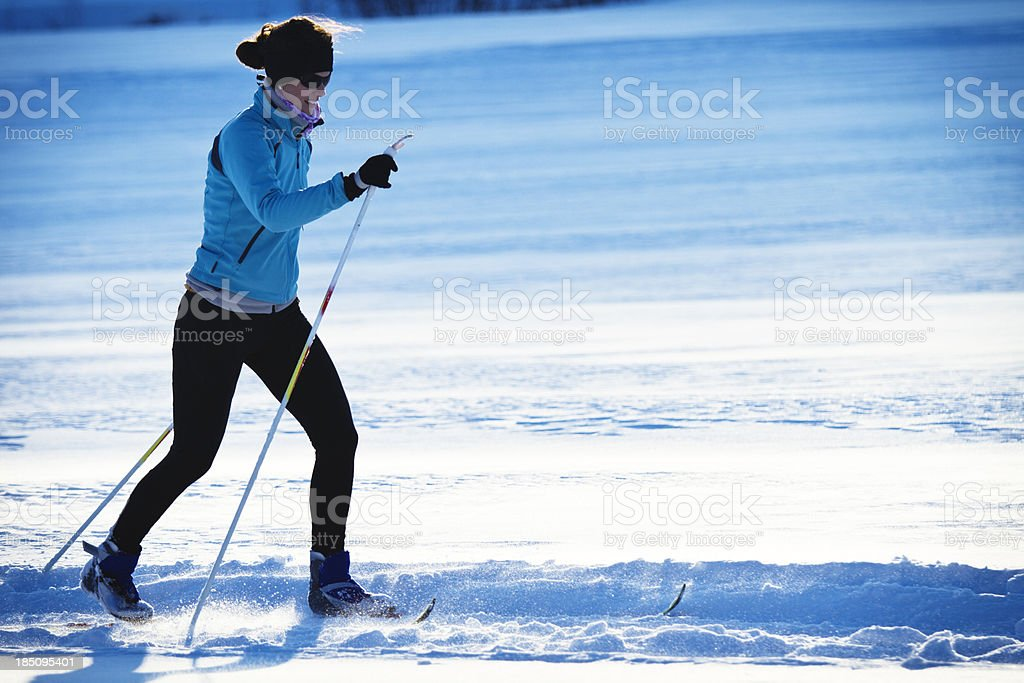 cross country skiing - classic style stock photo